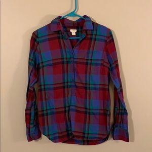 J. Crew plaid pullover shirt